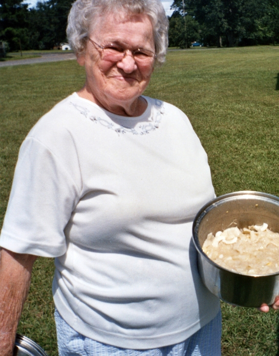 INEZ WELLS HAMPTON and her chicken and dumplings
