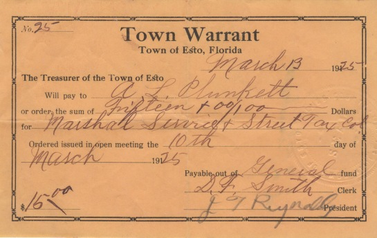 A 1925 warrant used for paying the young town's bills.